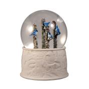 4 Blue Jays on an Apsen Tree Water Globe San Francisco Music Box