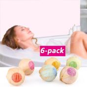 6PC Organic Bath Bombs Gift Set Bubble Bath Salts Ball Handmade SPA Skim Improvement Fizzies Essential Oil Added Stress Relief Gifts Idea by DMZing