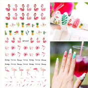 1 Sheet Flamingo 3D Nail Art Transfer Stickers for Nail Design Pineapple Nail Decal Accessories Manicure Cactus 3D Nail Sticker