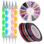 Yimart Nail Art Manicure Beauty Kit Set of 10Pcs Nail Art Striping Tapes + 5Pcs Nail Art Dotting Pens + 1Wheel Nail Art Rhinestones Decorations