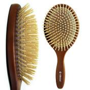 Rolencos Professional Natural Wooden Bristle Detangling Hair Brush Large