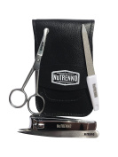 Professional Quality 4 piece Manicure / Pedicure Grooming Kit by NuTRENND | High Carbon Stainless Steel Nail clippers, Scissors, Nail file and Tweezers | With . Leather storage pouch | Perfect for home, salon and travel |