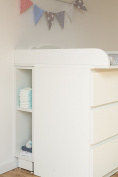 Kraft Kids Storage Shelf for Changing Table – White, Suitable for Malm Chest of Drawers
