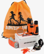 Adventure Kidz - Outdoor Exploration Kit, Children's Toy Binoculars, Flashlight, Compass, Whistle, Magnifying Glass, Storage Backpack. Great Gift Set for Camping, Hiking, Educational and Pretend Play.