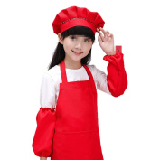 SEADEAR Waterproof Anti-oil Adjustable Durable Children's Aprons Fashion Apron with Hat Sleeves For Painting Kindergarten Art Museum Cooking 7-12 years old(Red£