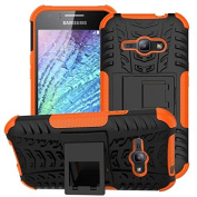 Galaxy J1 Ace Case, Samsung Galaxy J1 Ace J110 Case,ARSUE Hard Silicone Rubber Hybrid Armour Shockproof Protective Case Cover with Kickstand for Samsung Galaxy J1 Ace / J110 - Orange