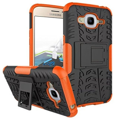 Galaxy J2 2016 Case,ARSUE Hard Silicone Rubber Hybrid Armour Shockproof Protective Case Cover with Kickstand for Samsung Galaxy J2 2016 smartphone - Orange