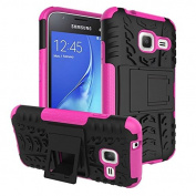 Galaxy J1 Mini Case,ARSUE Hard Silicone Rubber Hybrid Armour Shockproof Protective Case Cover with Kickstand for Samsung Galaxy J1 mini smartphone - Hot Pink