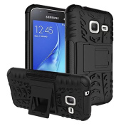 Galaxy J1 Mini Case,ARSUE Hard Silicone Rubber Hybrid Armour Shockproof Protective Case Cover with Kickstand for Samsung Galaxy J1 mini smartphone - Black