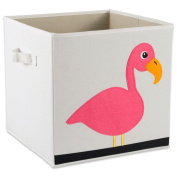 "E-Living Store Collapsible Storage Bin Cube for Bedroom, Nursery, Playroom and More 13x 33cm x 13"" - Flamingo"