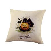 TOPUNDER Happy Halloween Linen Throw Pillow Case Cushion Cover Home Sofa Decor New G