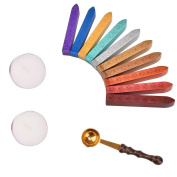 SelfTek Sealing Wax Sticks Set without Wicks Retro Spoon and Candles for Postage Letter Vintage Wax Seal Stamp