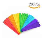 Moolon Colourful Wooden Sticks Ice Cream and Popsicle Handmade Tool for Children Handcrafts 200 PCS