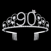 BABEYOND Crystal Tiara Birthday Crown Princess Crown Hair Accessories Silver Rhinestone Diamante Happy 16/18/20/30/40/50/60/70/80/90th Birthday