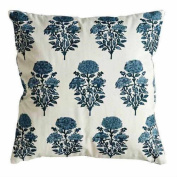 Creative Co-Op 46cm Cotton Blue Embroidered Floral Accent Pillow