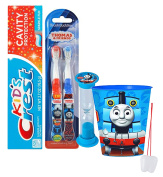 """Thomas The Train"" Inspired 5pc Bright Smile Oral Hygiene Set! Thomas & Friends 2pk Soft Manual Toothbrush, Toothpaste, Brushing Timer & Mouthwash Rinse Cup! Plus Bonus ""Remember To Brush"" Visual Aid!"