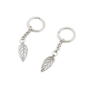 50 Pieces Keychain Keyring Door Car Key Chain Ring Tag Charms Supply O1SN9G Leaf Leaves