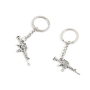 100 Pieces Keychain Keyring Door Car Key Chain Ring Tag Charms Supply S3RE6D Machine Gun