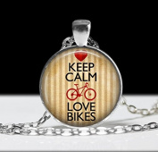 Keep Calm and Love Bikes Bicycle Jewellery ,Art Bicycle Necklace Bicycle Pendant Charm
