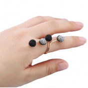 Newest Adjustable Vintage Resin Alloy Beans Wrap Knuckle Ring Shiny Simple Ring For Women Girls Fashion Jewellery