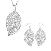 Lingduan 925 Sterling silver Cute Natural Leaf Pendant Necklace Earrings Jewellery Set For Women Or Girls