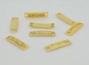 "Golden/Antique Silver Metal ""believe"" Stamped Bracelet Connector Clasps Bar Blanks for Handmade Bracelets DIY Jewellery Making 34x8mm Pack of 10Pcs"