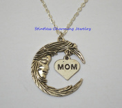 Moon and mom Necklace, crescent Moon, Silver Necklace, Silver Moon, Layered Necklace Set, Heart Necklace,Mom Necklace