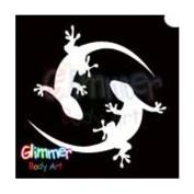 Glimmer Body Art Glitter Tattoo Stencils Twin Gecko 5/pack