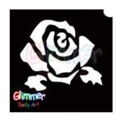 Glimmer Body Art Glitter Tattoo Stencils - Rose 1