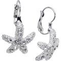 Clear Starfish Leverback Earrings