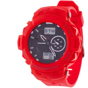 Everlast Dual-Display Sports Watch, Red Silicone Strap