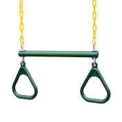 Gorilla Playsets 43cm Trapeze Bar with Rings, Green/Yellow