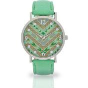 Women's Mint Aztec Dial Watch, Faux Leather Band