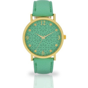 Women's Mint Cut-Out Floral Watch, Faux Leather Band