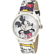 Mickey Mouse Silver Metal Case Character-Printed Dial Analogue Watch, Mickey Mouse Comic Strip Printed Strap