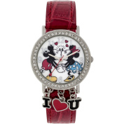 Mickey Mouse Stone Case with Dangling Charms Character-Printed Dial Analogue Watch, Red Iced Croco PU Strap