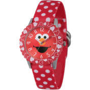 Sesame Street Elmo Stainless Steel Time Teacher Watch, Red Bezel, Red Stretchy Nylon Strap with White Polka Dot