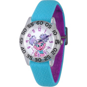Sesame Street Abby Cadabby Girls' Clear Plastic Time Teacher Watch, Reversible Blue and Purple Elastic Nylon Strap