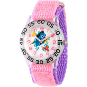 Disney Finding Dory, Nemo and Dory Girls' Plastic Time Teacher Watch, Pink Hook and Loop Nylon Strap with Purple Backing