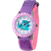 Disney Finding Dory, Destiny and Dory Girls' Stainless Steel Time Teacher Watch, Purple Bezel, Purple Hook and Loop Nylon Strap with Pink Backing