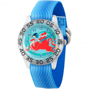 Disney Finding Dory Hank and Dory Boys' Plastic Time Teacher Watch, Blue Stripe Nylon Strap
