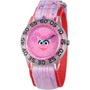 Sesame Street Abby Cadabby Girls' Clear Plastic Time Teacher Watch, Purple Hook and Loop Nylon Strap with Red Backing