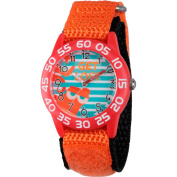 Disney Finding Dory, Hank Boys' Red Plastic Time Teacher Watch, Orange Hook and Loop Nylon Strap with Black Backing