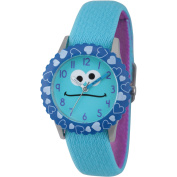 Sesame Street Cookie Monster Stainless Steel Time Teacher Watch, Blue Bezel, Reversible Blue and Purple Elastic Nylon Strap