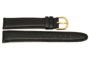 18MM BLACK SMOOTH GENUINE LEATHER WATCH BAND STRAP GOLD STEEL BUCKLE FITS SEIKO