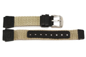 16MM LEATHER NYLON BLACK KHAKI FS WATCH BAND FITS FIELD EXPEDITION