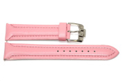 22MM PINK PADDED STITCHED SYNTHETIC FAUX LEATHER ANTI ALLERGY WATCH BAND STRAP