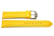 22MM YELLOW PADDED STITCHED SYNTHETIC FAUX LEATHER WATCH BAND STRAP