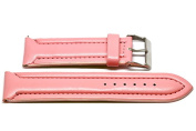 24MM PINK PADDED STITCHED SYNTHETIC FAUX LEATHER FASHION WATCH BAND STRAP