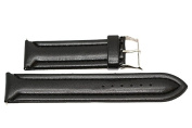 24MM BLACK PADDED STITCHED SYNTHETIC FAUX LEATHER FASHION WATCH BAND STRAP